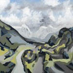 Towards Basecamp, Annapurna South, Nepal - Oil on Canvas 61x61cm - 375