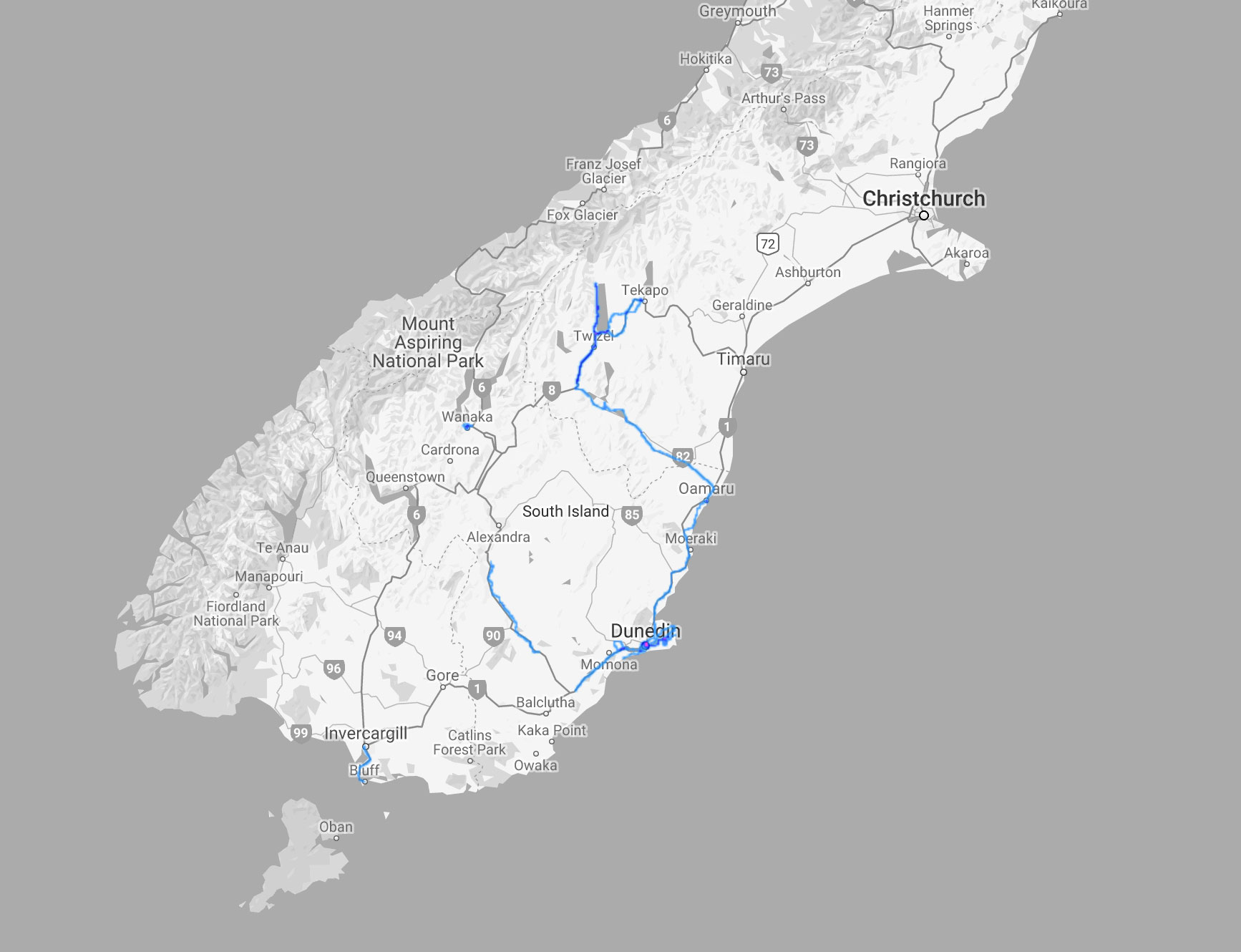 Route Map NZ South Island